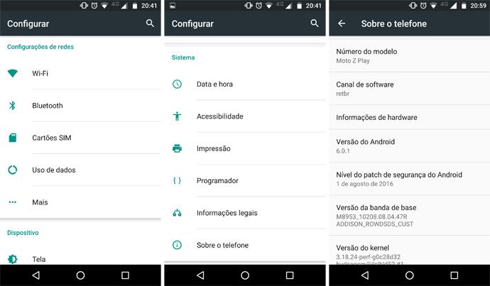 Tela de configuração do Android