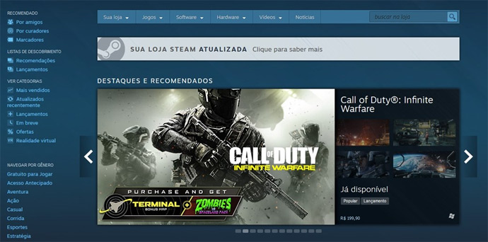 Página do Steam