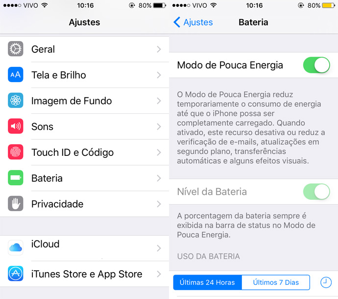 Ajustes bateria do iPhone