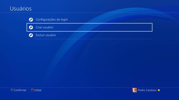 PS4 - criar usuário