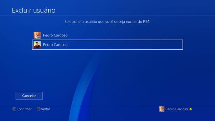 PS4 - excluir usuários