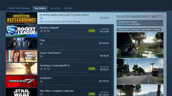 Battlegrounds no Steam