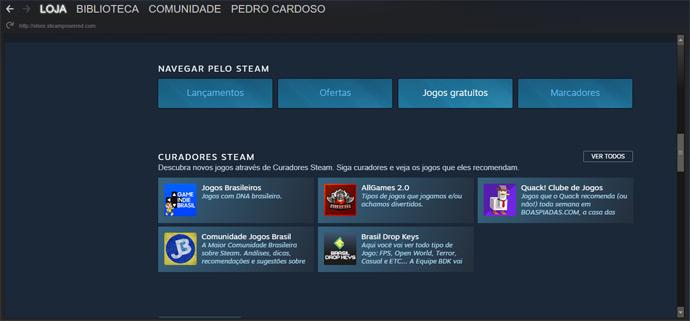 Jogos gratuitos no Steam