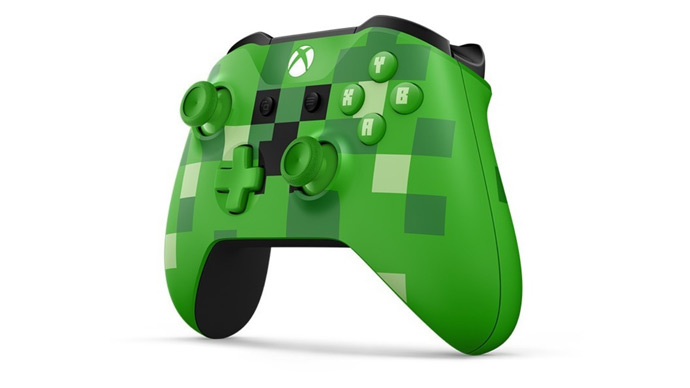 Xbox One S com grafismos de Minecraft